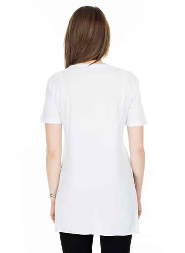 Lela Lela Bisiklet Yaka Kadın T Shirt 5411063TDL Beyaz